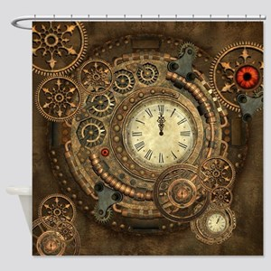 Steampunk, clockwork with gears Shower Curtain