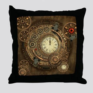 Steampunk, clockwork with gears Throw Pillow