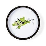 Cute green frog Wall Clock