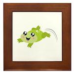 Cute green frog Framed Tile