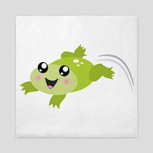 Cute green frog Queen Duvet