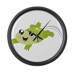 Cute green frog Large Wall Clock