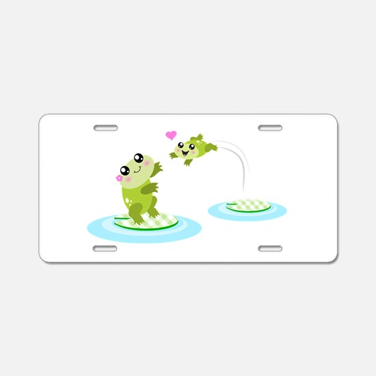 Cute mother and child frogs Aluminum License Plate