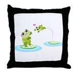 Cute mother and child frogs Throw Pillow