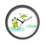 Cute mother and child frogs Wall Clock