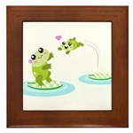 Cute mother and child frogs Framed Tile