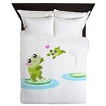 Cute mother and child frogs Queen Duvet