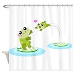 Cute mother and child frogs Shower Curtain