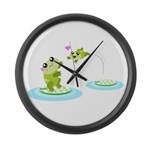 Cute mother and child frogs Large Wall Clock