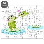 Cute mother and child frogs Puzzle