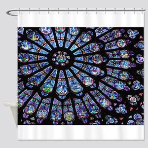 Stained glass window Notre Dame Shower Curtain