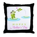 Hoppy Mothers day frogs Throw Pillow