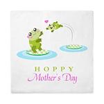 Hoppy Mothers day frogs Queen Duvet