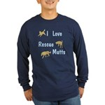 I Love Rescue Mutts Long Sleeve Dark T-Shirt