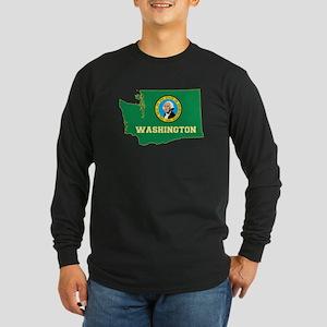 Washington Flag Long Sleeve Dark T-Shirt