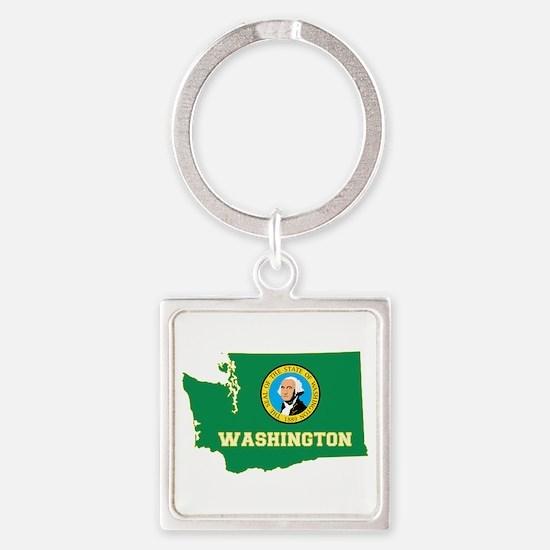 Washington Flag Square Keychain