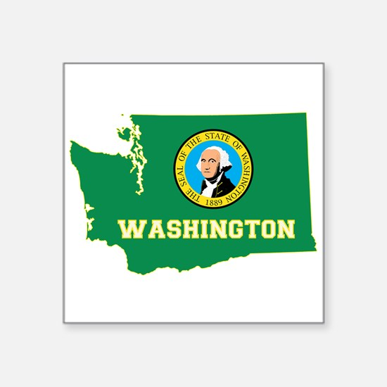"Washington Flag Square Sticker 3"" x 3"""