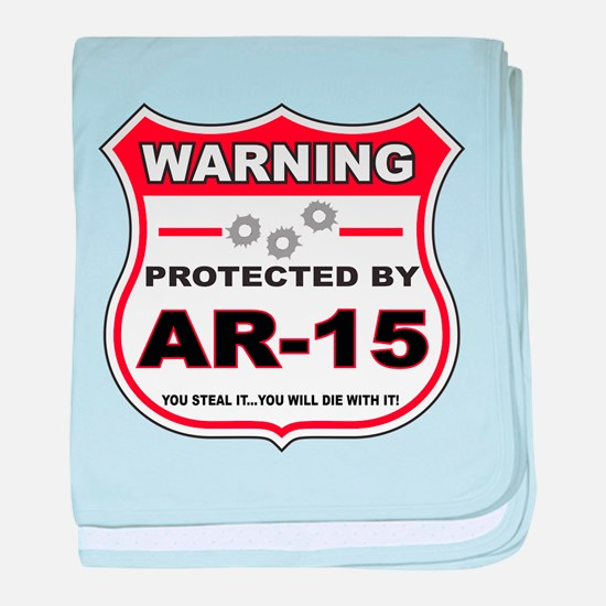 protected by ar15 shield baby blanket