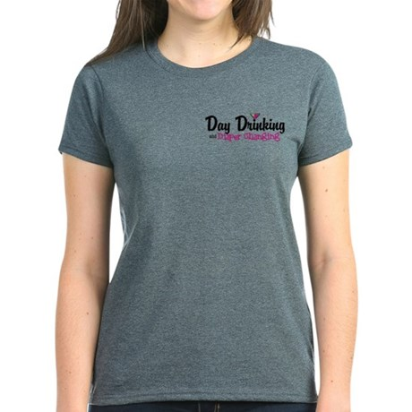 Day Drinking and Diaper Changing Logo Text T-Shirt