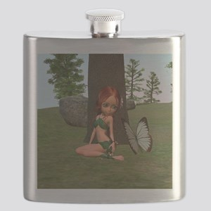 Forest Elf Girl and Butterfly Flask