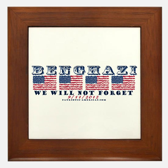 Benghazi - Never Forget (with Date) Framed Tile