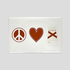 Peace Love Alabama Rectangle Magnet