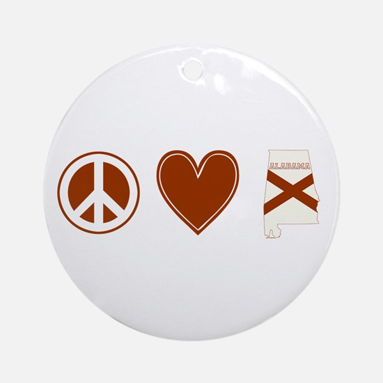 Peace Love Alabama Ornament (Round)