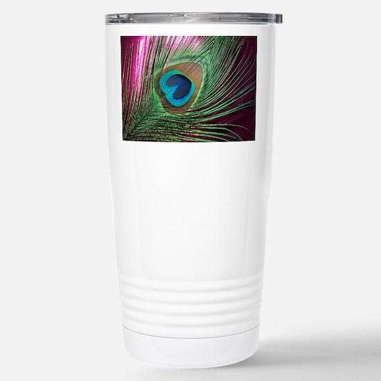 Magenta Peacock Travel Mug