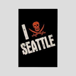 I Jolly Roger Seattle Rectangle Magnet