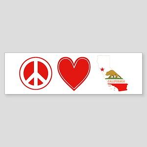 Peace Love California Sticker (Bumper)