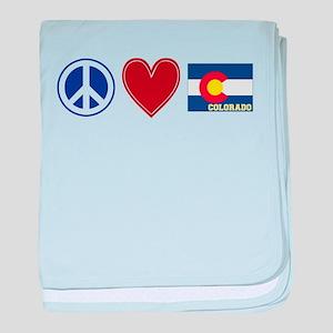 Peace Love Colorado baby blanket