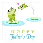 Hoppy Fathers day frogs Square Car Magnet 3