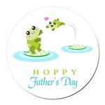 Hoppy Fathers day frogs Round Car Magnet