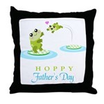 Hoppy Fathers day frogs Throw Pillow
