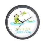 Hoppy Fathers day frogs Wall Clock