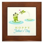 Hoppy Fathers day frogs Framed Tile