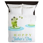 Hoppy Fathers day frogs Queen Duvet
