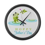 Hoppy Fathers day frogs Large Wall Clock