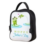 Hoppy Fathers day frogs Neoprene Lunch Bag