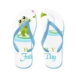 Hoppy Fathers day frogs Flip Flops