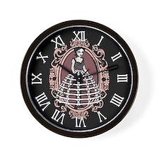 Gothic Girl In Bone Hoopskirt Wall Clock