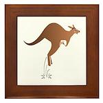 Cute kangaroo mom and baby Framed Tile