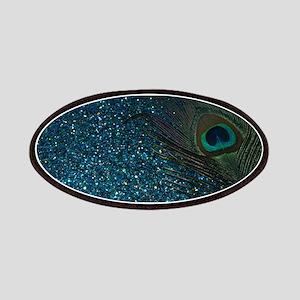 Glittery Aqua Peacock Patches