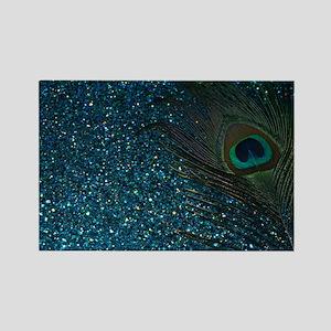 Glittery Aqua Peacock Rectangle Magnet