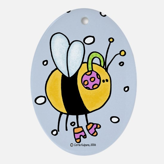 winter bee Oval Ornament