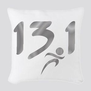 Silver 13.1 half-marathon Woven Throw Pillow