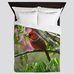 Blossoming Cardinal Queen Duvet