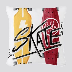 skate or die Woven Throw Pillow