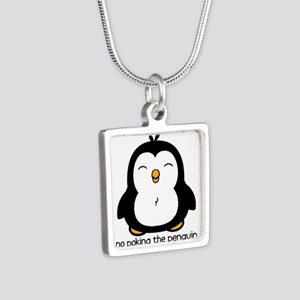 No Poking The Penguin Silver Square Necklace