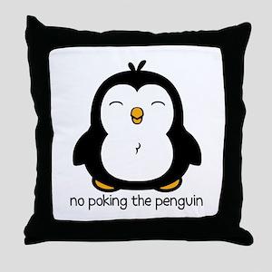 No Poking The Penguin Throw Pillow